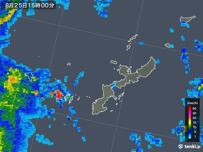 沖縄県の雨雲レーダー(2018年08月25日)