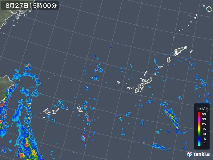 沖縄地方の雨雲レーダー(2018年08月27日)