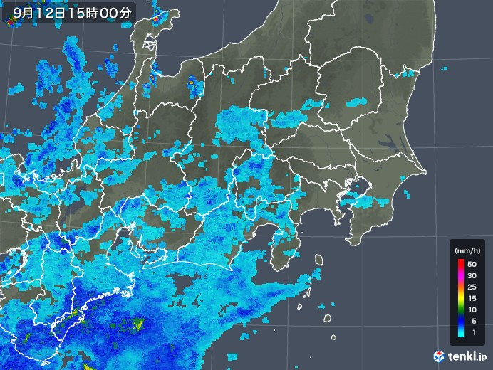 関東・甲信地方の雨雲の動き(2018年09月12日)
