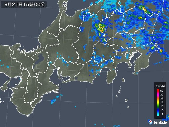 東海地方の雨雲レーダー(2018年09月21日)