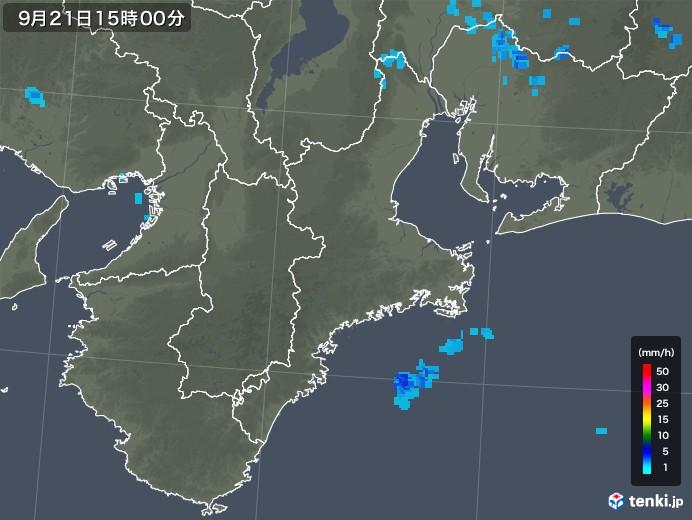 三重県の雨雲レーダー(2018年09月21日)