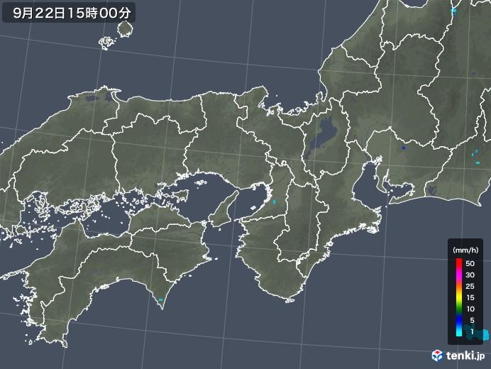 近畿地方の雨雲レーダー(2018年09月22日)