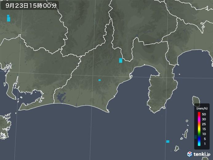 静岡県の雨雲レーダー(2018年09月23日)