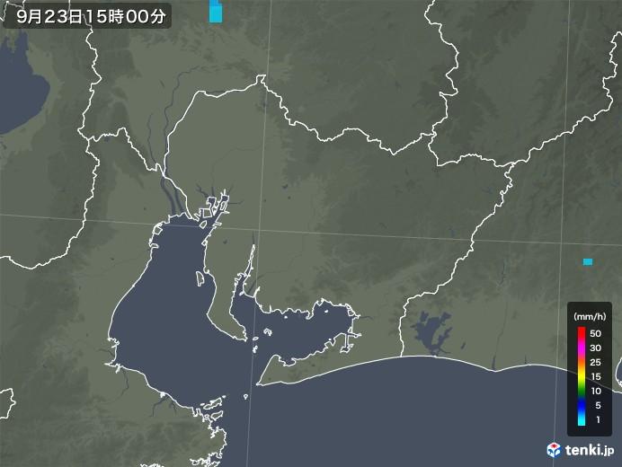 愛知県の雨雲レーダー(2018年09月23日)