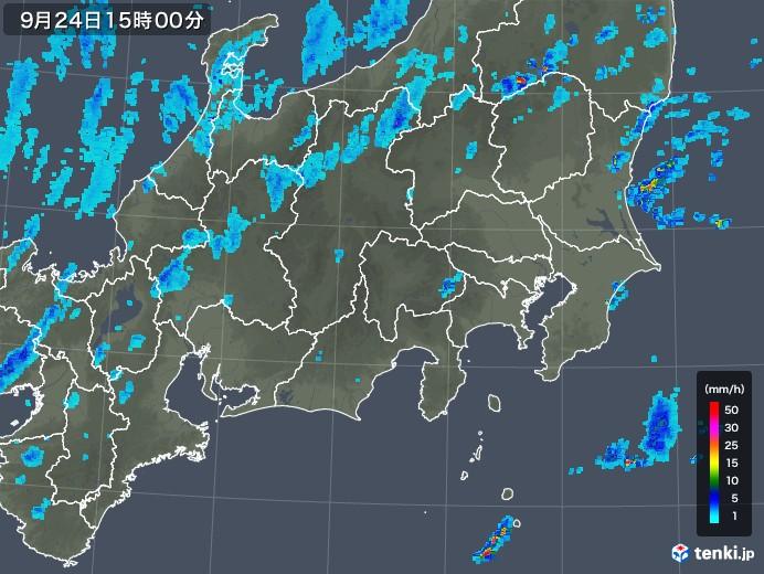 関東・甲信地方の雨雲レーダー(2018年09月24日)