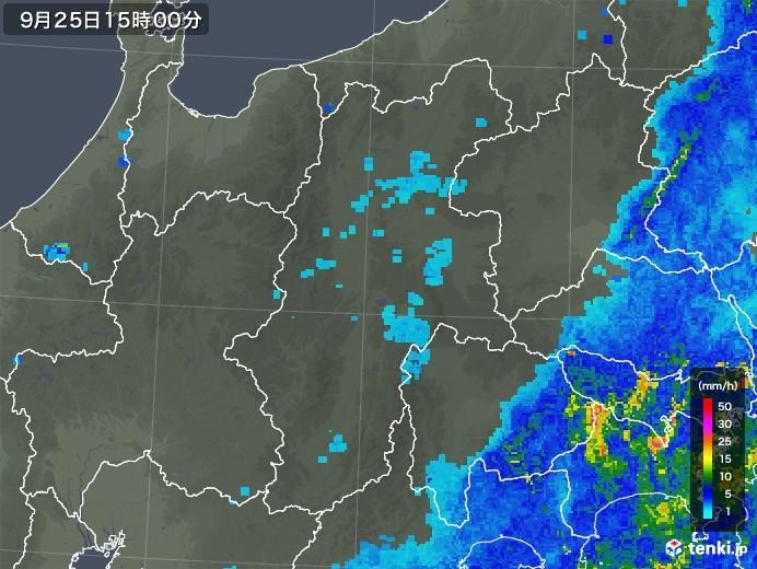 長野県の雨雲レーダー(2018年09月25日)