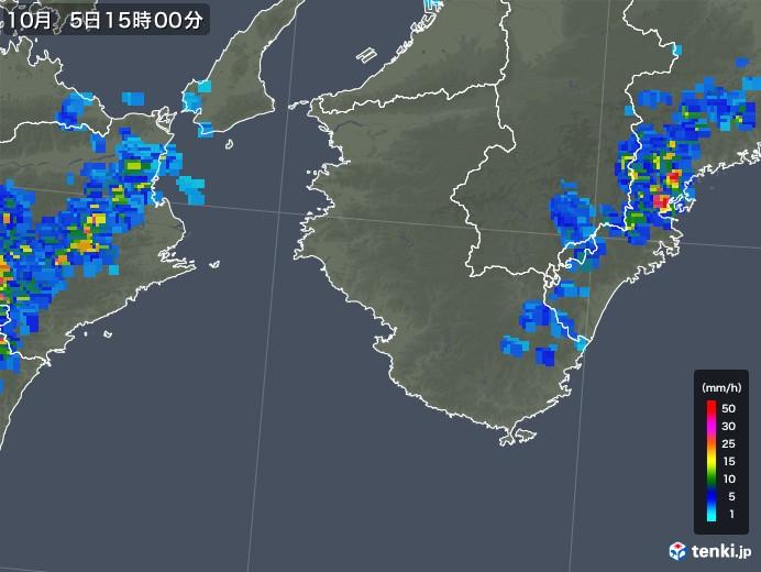 和歌山県の雨雲レーダー(2018年10月05日)
