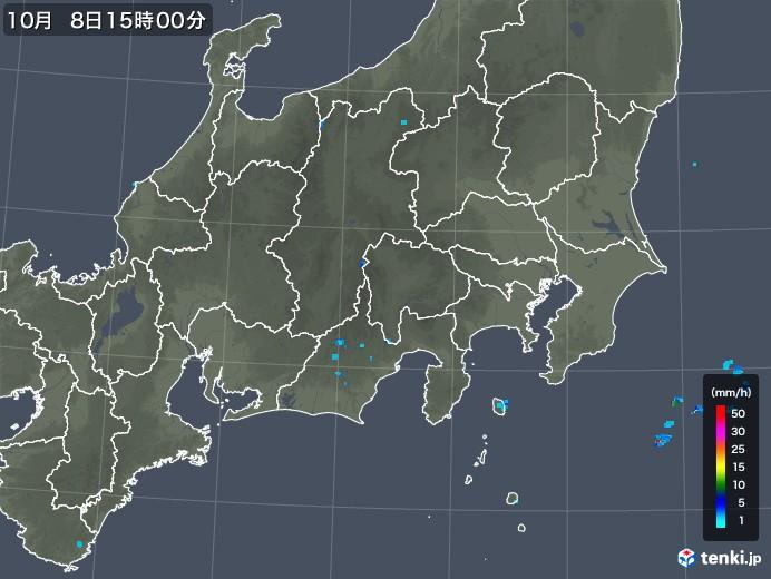 関東・甲信地方の雨雲の動き(2018年10月08日)