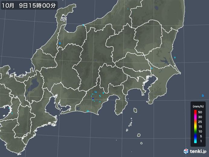 関東・甲信地方の雨雲の動き(2018年10月09日)