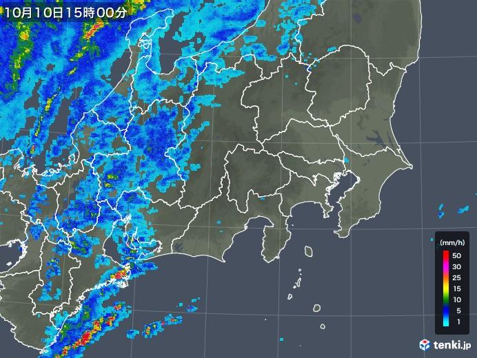 関東・甲信地方の雨雲の動き(2018年10月10日)