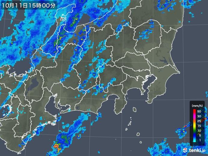 関東・甲信地方の雨雲の動き(2018年10月11日)