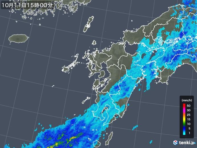 九州地方の雨雲レーダー(2018年10月11日)
