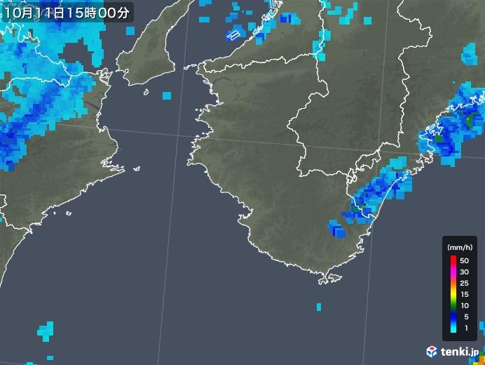 和歌山県の雨雲レーダー(2018年10月11日)