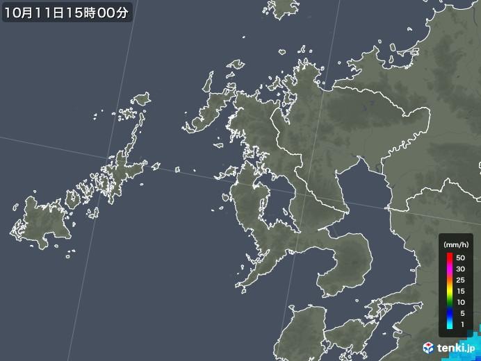 長崎県の雨雲レーダー(2018年10月11日)