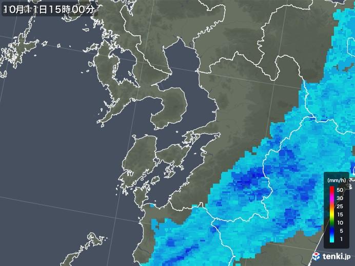 熊本県の雨雲レーダー(2018年10月11日)