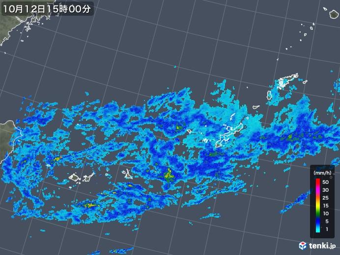 沖縄地方の雨雲レーダー(2018年10月12日)