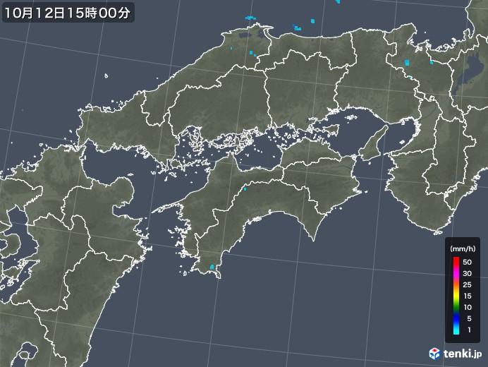 四国地方の雨雲レーダー(2018年10月12日)