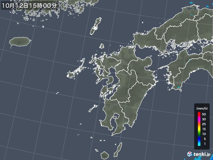 九州地方の雨雲レーダー(2018年10月12日)