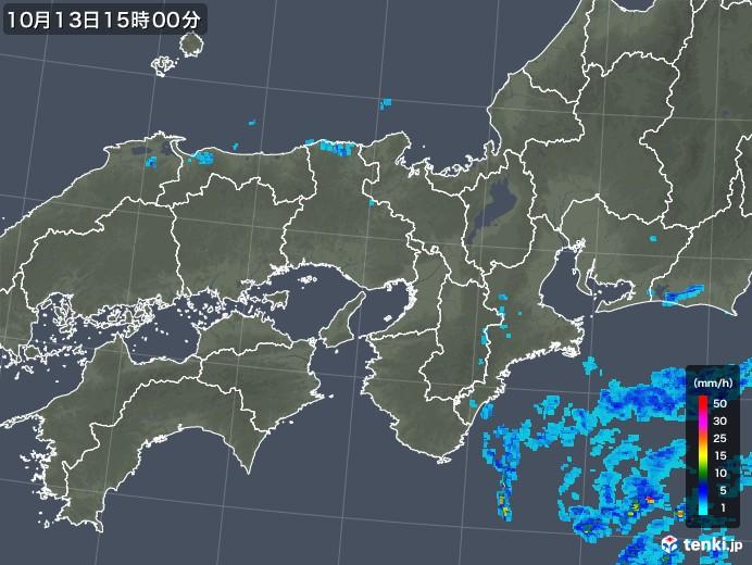 近畿地方の雨雲レーダー(2018年10月13日)