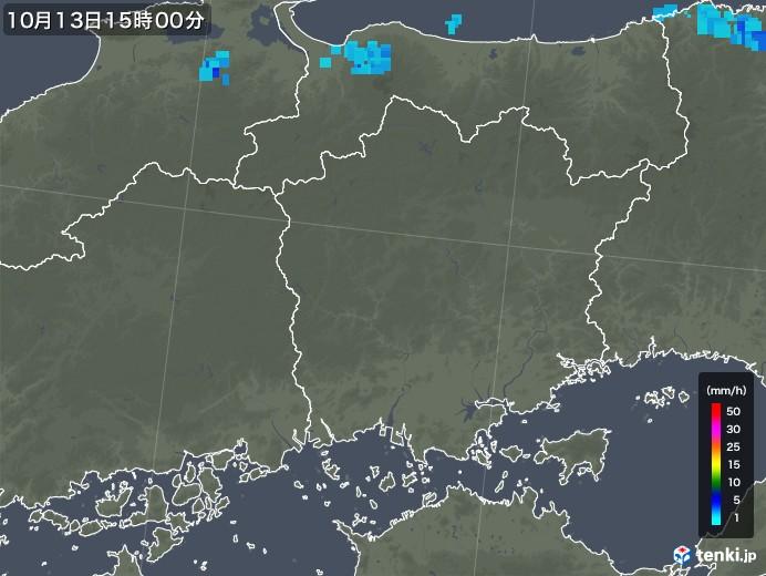岡山県の雨雲レーダー(2018年10月13日)