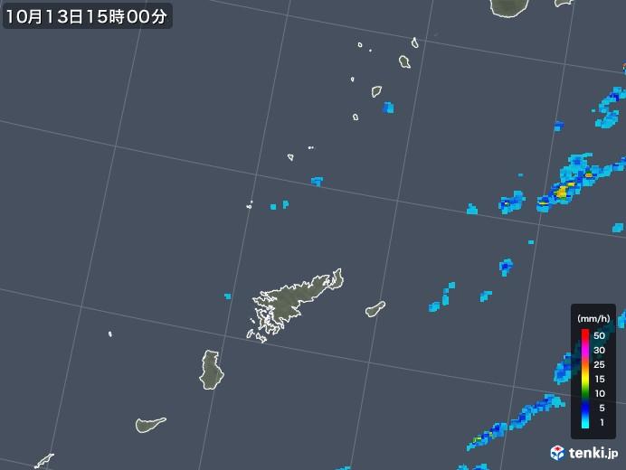 奄美諸島(鹿児島県)の雨雲レーダー(2018年10月13日)