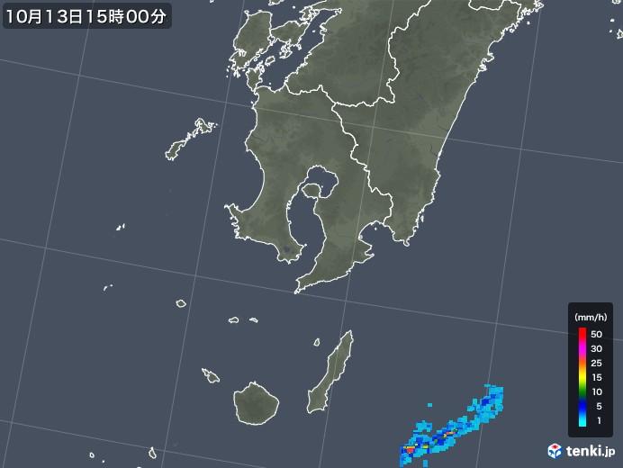 鹿児島県の雨雲レーダー(2018年10月13日)