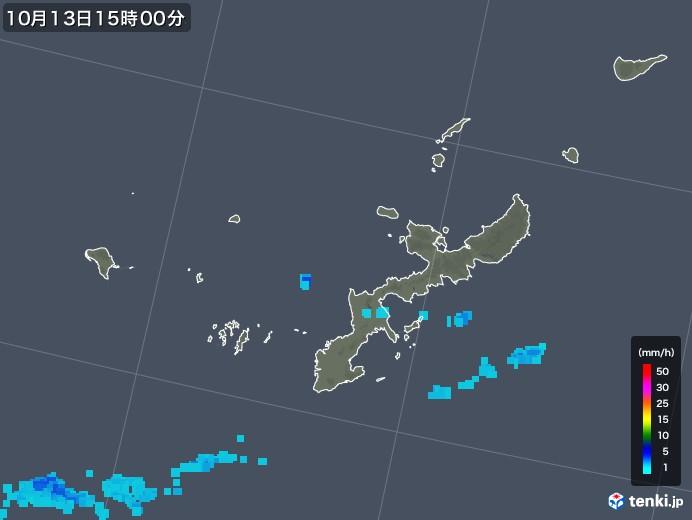 沖縄県の雨雲レーダー(2018年10月13日)