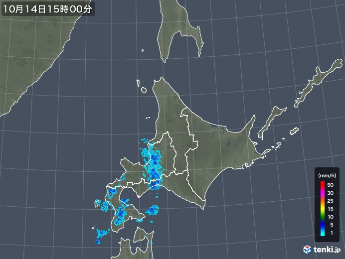 北海道地方の過去の雨雲の動き 2018年10月14日 日本気象協会
