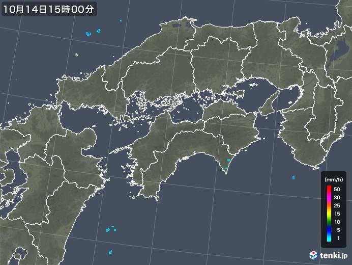 四国地方の雨雲レーダー(2018年10月14日)