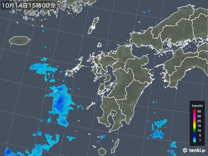 九州地方の雨雲レーダー(2018年10月14日)
