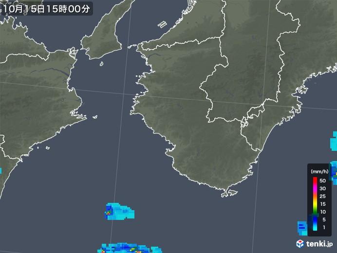 和歌山県の雨雲レーダー(2018年10月15日)