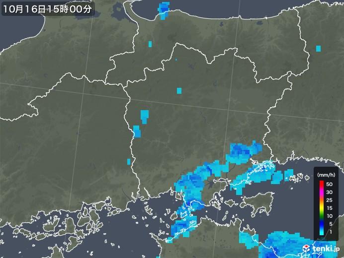 岡山県の雨雲の動き(2018年10月16日)