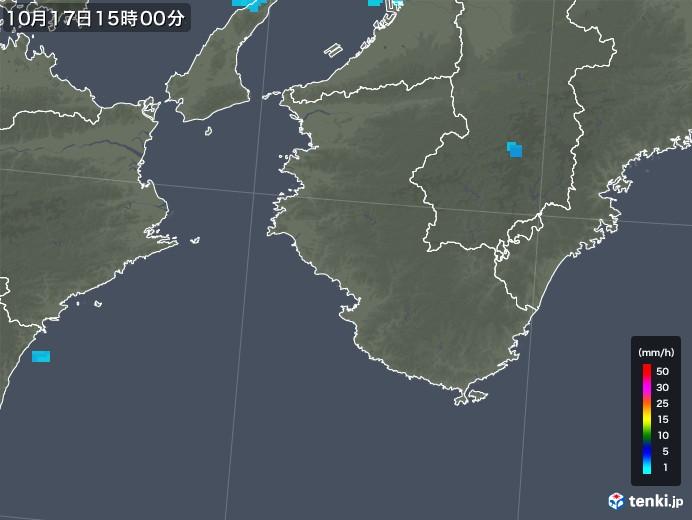 和歌山県の雨雲レーダー(2018年10月17日)