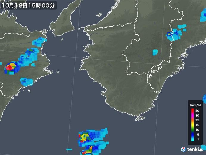 和歌山県の雨雲レーダー(2018年10月18日)