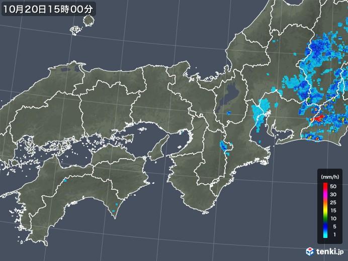 近畿地方の雨雲レーダー(2018年10月20日)