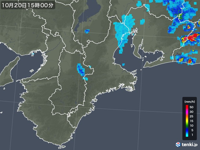 三重県の雨雲レーダー(2018年10月20日)