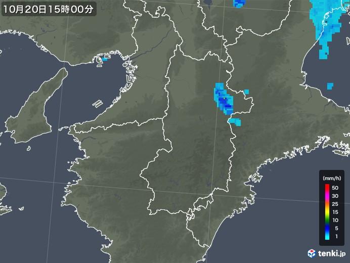 奈良県の雨雲レーダー(2018年10月20日)