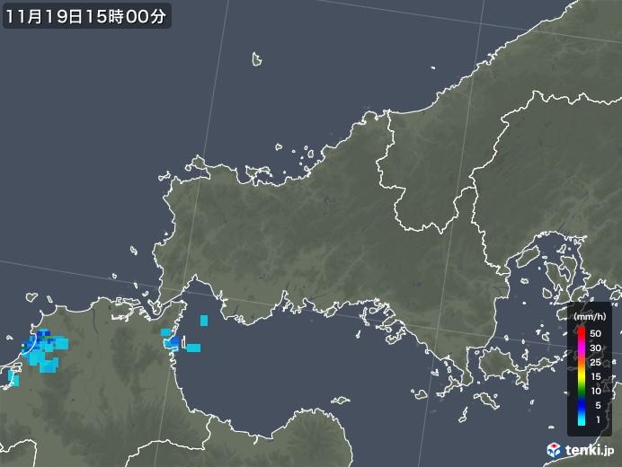 山口県の雨雲レーダー(2018年11月19日)