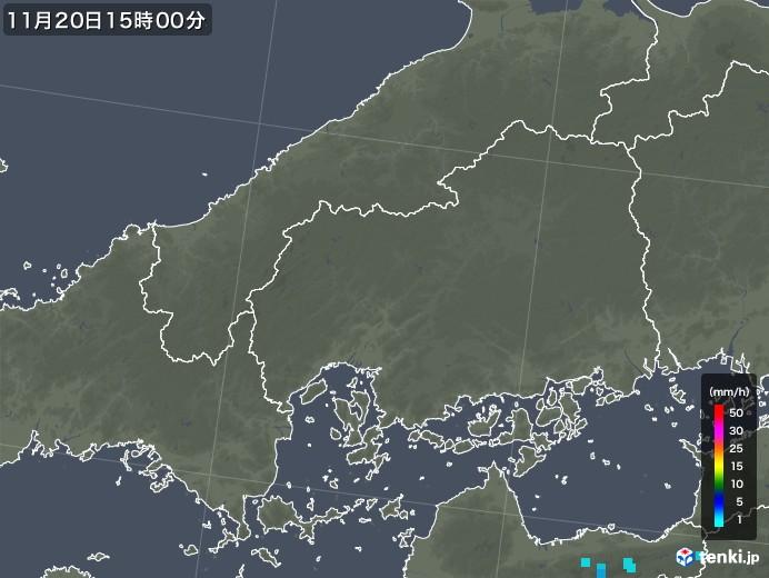 広島県の雨雲レーダー(2018年11月20日)