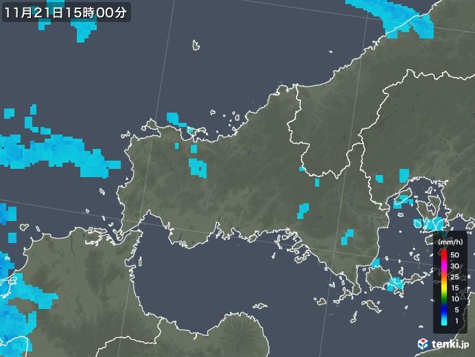 山口県の雨雲レーダー(2018年11月21日)