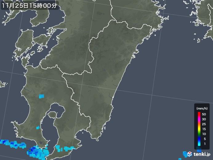 宮崎県の雨雲の動き(2018年11月25日)