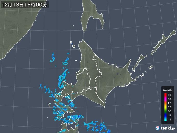 北海道地方の雨雲の動き(2018年12月13日)