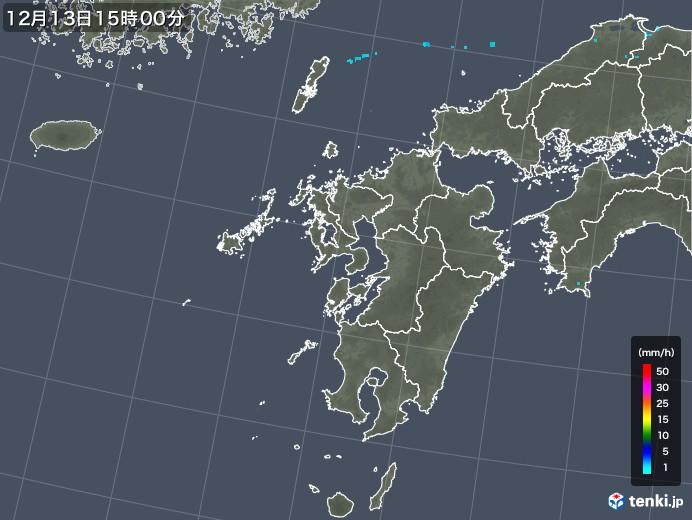 九州地方の雨雲の動き(2018年12月13日)