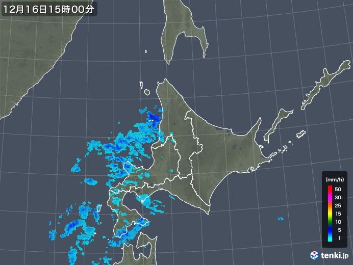 北海道地方の雨雲の動き(2018年12月16日)
