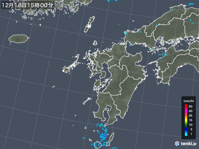 九州地方の雨雲の動き(2018年12月18日)