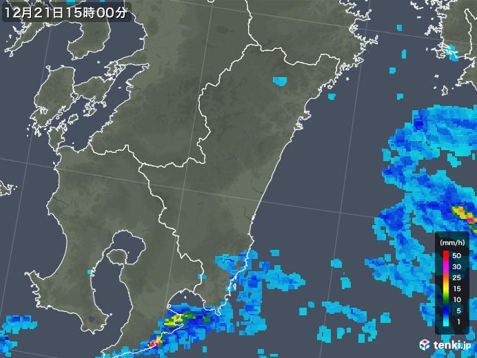 宮崎県の雨雲の動き(2018年12月21日)