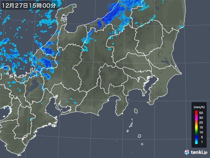 関東・甲信地方の雨雲の動き(2018年12月27日)