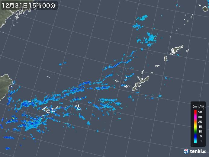 沖縄地方の雨雲の動き(2018年12月31日)