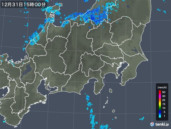 関東・甲信地方の雨雲の動き(2018年12月31日)