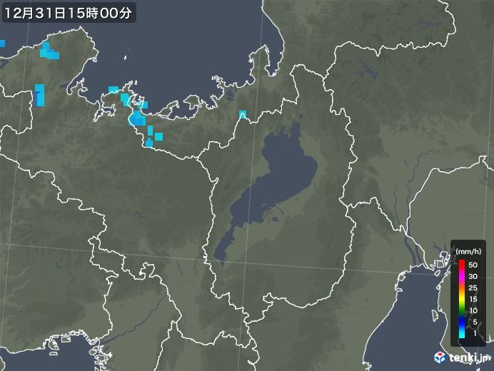 滋賀県の雨雲の動き(2018年12月31日)